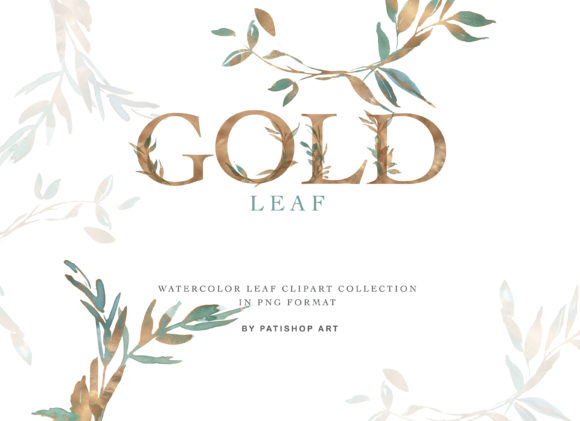 Gold Leaf Clipart & Alphabet Graphic By Patishop Art