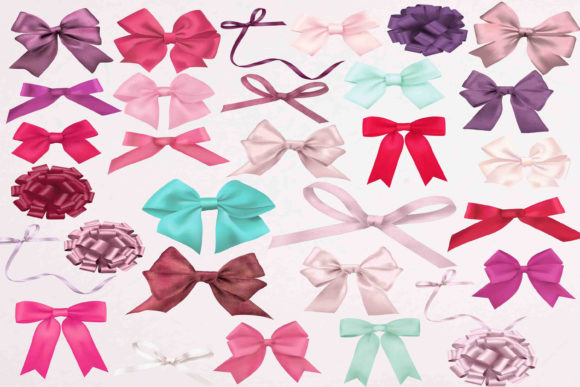 Print on Demand: Bows Clipart Graphic Illustrations By retrowalldecor