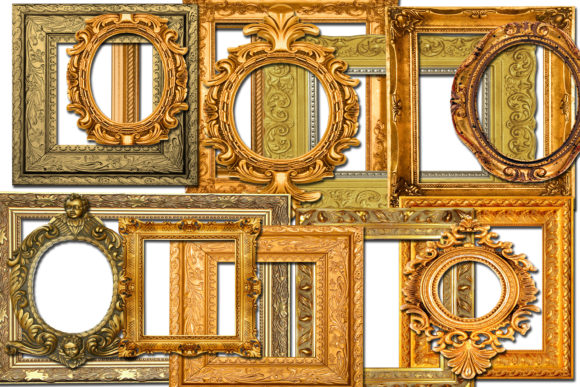 Print on Demand: Vintage Gold Frames Graphic Illustrations By retrowalldecor