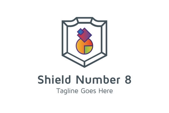 Download Free Shield Number 8 Graphic By Thehero Creative Fabrica for Cricut Explore, Silhouette and other cutting machines.