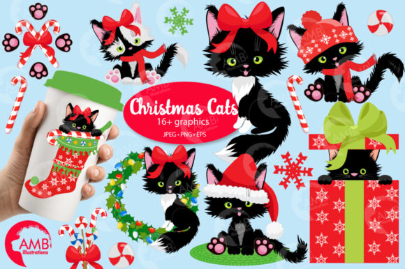 Christmas Cats Clipart, Christmas AMB-26 Graphic Illustrations By AMBillustrations - Image 5