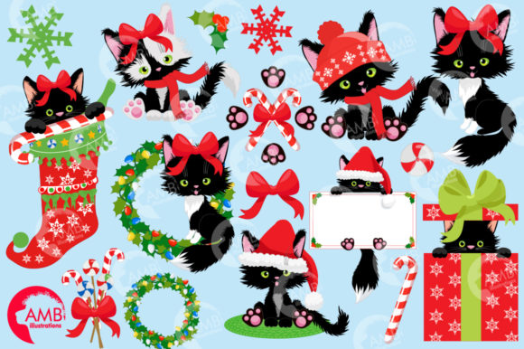Christmas Cats Clipart, Christmas AMB-26 Graphic Illustrations By AMBillustrations - Image 2