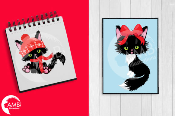 Christmas Cats Clipart, Christmas AMB-26 Graphic By AMBillustrations