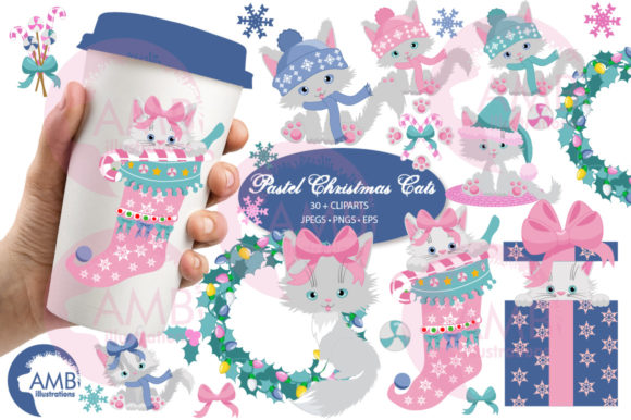 Christmas Cats in Pastel Colors AMB-2666 Graphic Illustrations By AMBillustrations