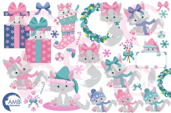 Christmas Cats in Pastel Colors AMB-2666 Graphic Illustrations By AMBillustrations - Image 3