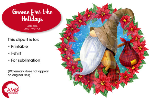 Gnome with Poinsettia Wreath AMB-2686 Graphic By AMBillustrations