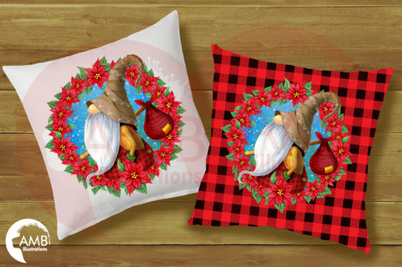 Gnome with Poinsettia Wreath AMB-2686 Graphic Illustrations By AMBillustrations - Image 2