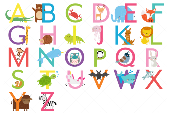 Animal Alphabet Clipart,Uppercase Letter Graphic Illustrations By ClipArtisan