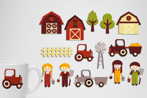 Print on Demand: At the Farm Clip Art Bundle Graphic Illustrations By Revidevi - Image 2
