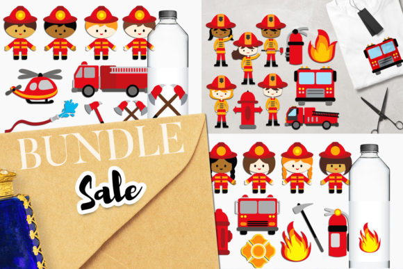 Print on Demand: Firefighter Bundle Graphic Illustrations By Revidevi