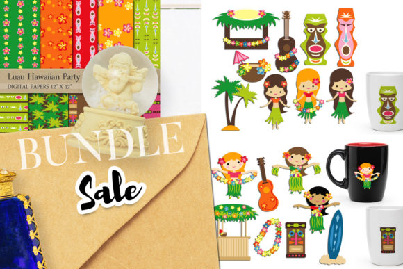 Print on Demand: Hawaii Tropical Party Bundle Graphic Illustrations By Revidevi