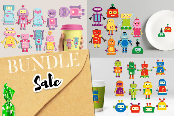 Print on Demand: Robots Bundle Graphic Illustrations By Revidevi