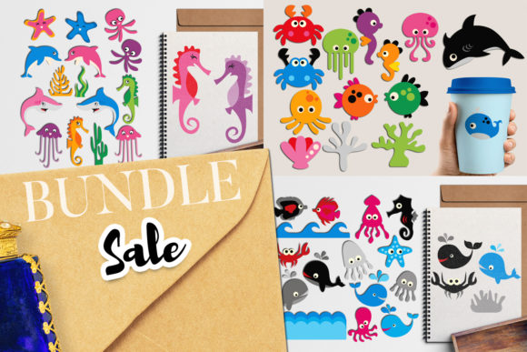 Print on Demand: Sea Animals Bundle Graphic Illustrations By Revidevi - Image 1