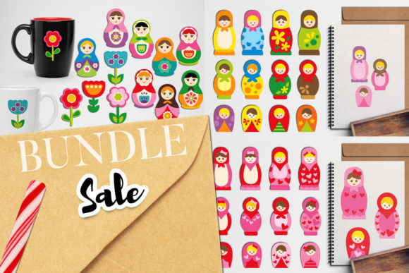 Print on Demand: Russian Dolls Clip Art Bundle Graphic Illustrations By Revidevi