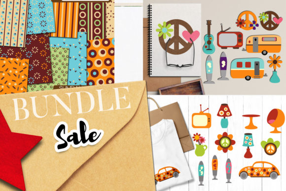 Print on Demand: Seventies Retro Bundle Graphic Illustrations By Revidevi