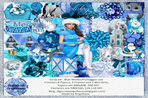 Print on Demand: Scrapkit Blue Winter Grafik Web-Elemente von Digiscrap Angelhaze