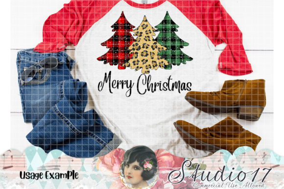 Print on Demand: Plaid Christmas Trees Bundles Graphic Illustrations By Studio 17 Designs