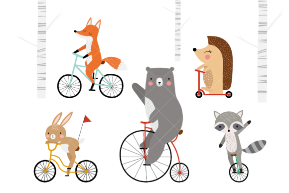 Animals on Bicycles Clip Art Graphic Illustrations By ClipArtisan
