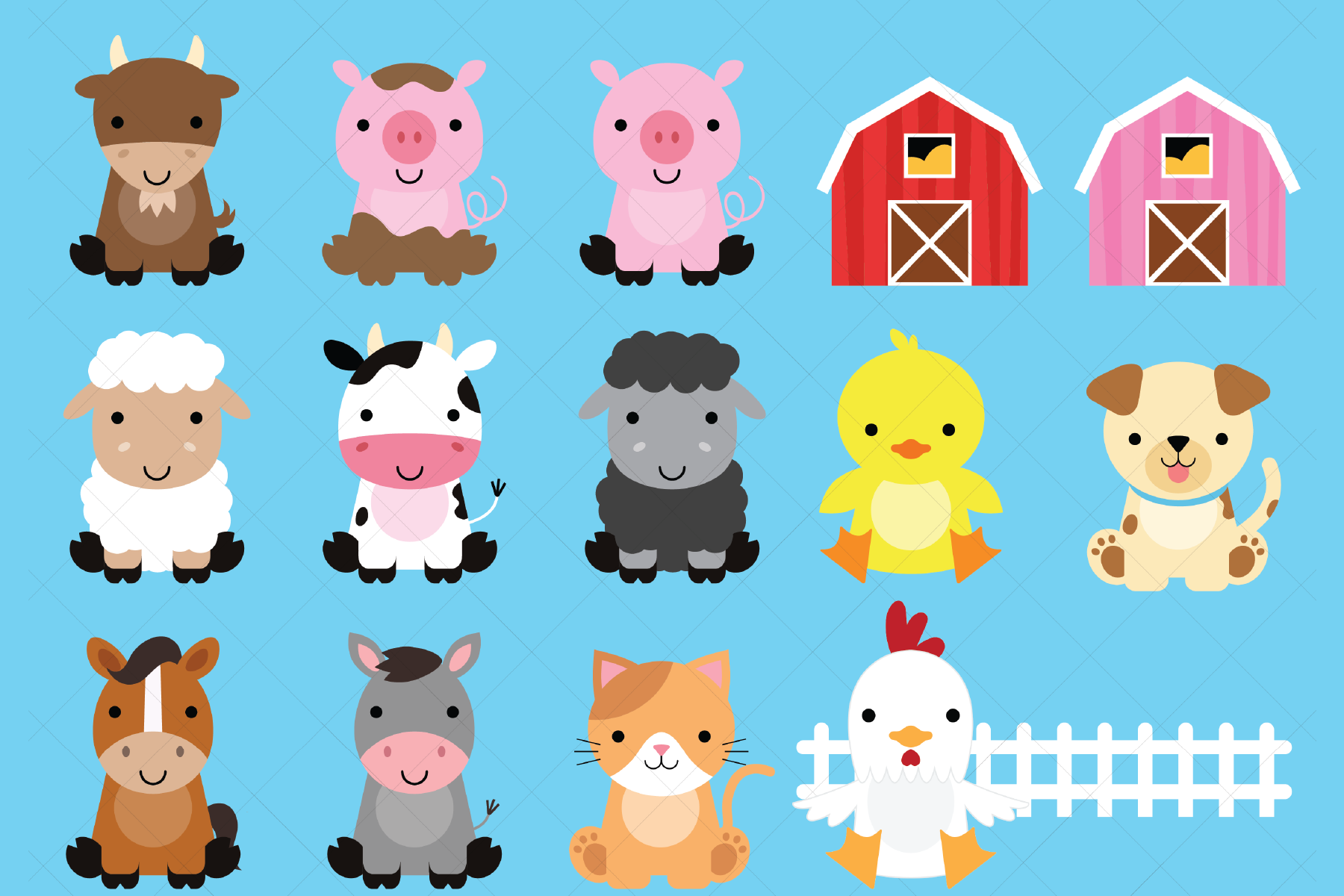 Download Free Farm Animals Clipart Graphic By Clipartisan Creative Fabrica for Cricut Explore, Silhouette and other cutting machines.