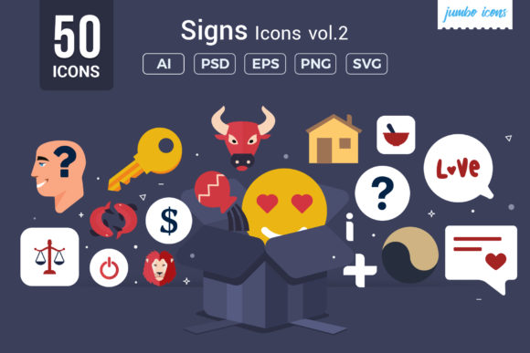 Print on Demand: Flat Vector Icons Signs Pack V2 Graphic Icons By jumboicons