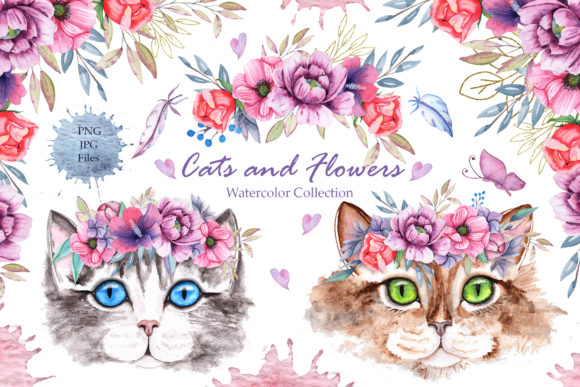 Watercolor Cats and Flowers Graphic