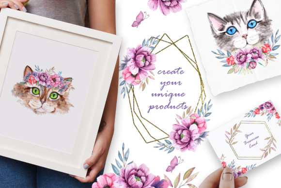 Watercolor Cats and Flowers Graphic Graphic