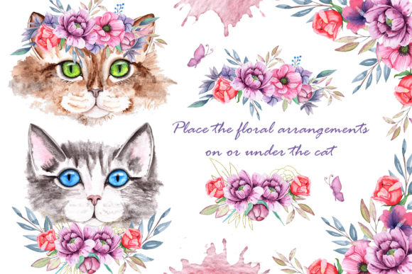 Print on Demand: Watercolor Cats and Flowers Graphic Illustrations By tanatadesign - Image 12