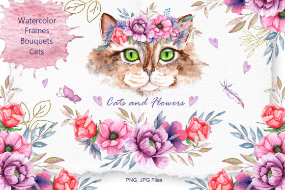 Watercolor Cats and Flowers Graphic Download