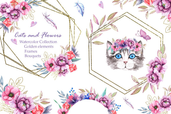 Watercolor Cats and Flowers Graphic Item