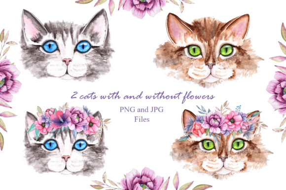Print on Demand: Watercolor Cats and Flowers Graphic Illustrations By tanatadesign - Image 4