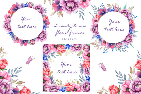 Watercolor Cats and Flowers Graphic Design Item