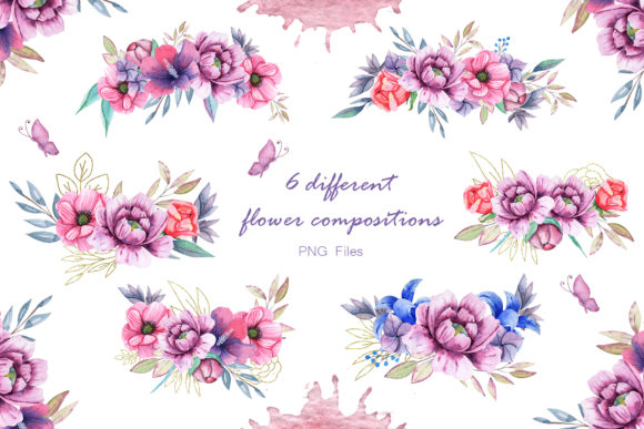 Print on Demand: Watercolor Cats and Flowers Graphic Illustrations By tanatadesign - Image 8