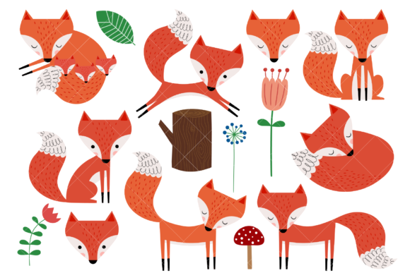 Fox Clip Art Graphic Illustrations By ClipArtisan