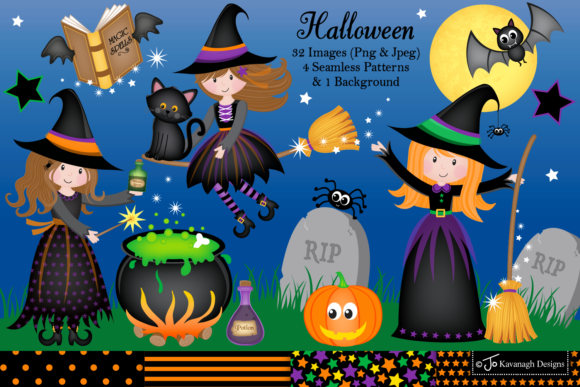 Download Free Halloween Clip Art Digital Paper C13 Graphic By for Cricut Explore, Silhouette and other cutting machines.