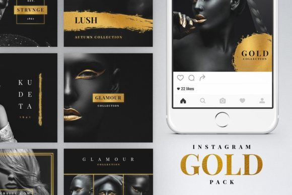 Print on Demand: Instagram Gold Template Graphic Websites By Ghosmod