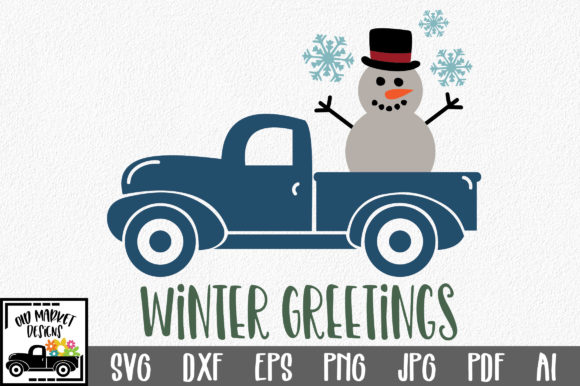 Winter Greetings SVG Cut File Graphic Crafts By oldmarketdesigns