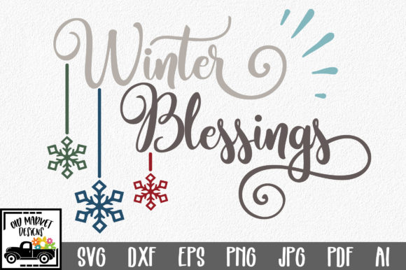 Winter Blessings SVG Cut File Graphic Crafts By oldmarketdesigns