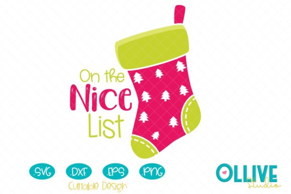 Christmas Stocking on the Nice List Graphic Crafts By ollivestudio