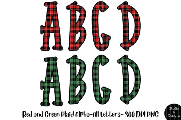 Print on Demand: Buffalo Plaid Alphabet Bundle Graphic Illustrations By Studio 17 Designs