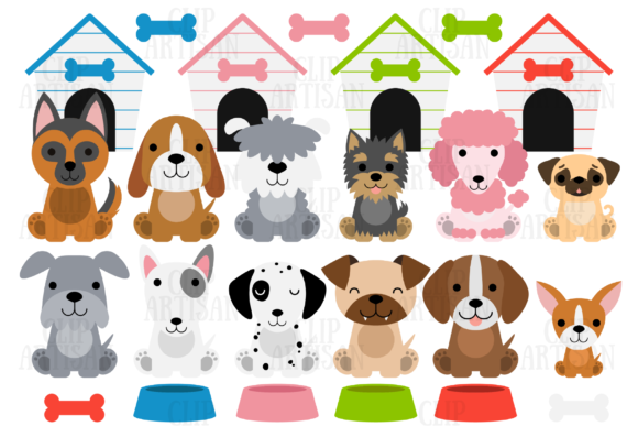 Dog Clipart, Puppies, Puppy Dogs Graphic Illustrations By ClipArtisan - Image 1