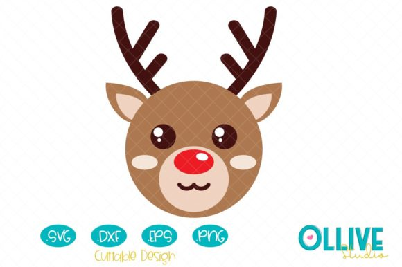 Download Free Christmas Cute Reindeer Graphic By Ollivestudio Creative Fabrica for Cricut Explore, Silhouette and other cutting machines.