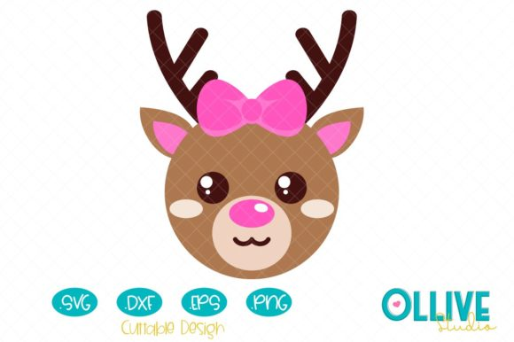 Download Free Christmas Cute Reindeer Girl Graphic By Ollivestudio Creative for Cricut Explore, Silhouette and other cutting machines.
