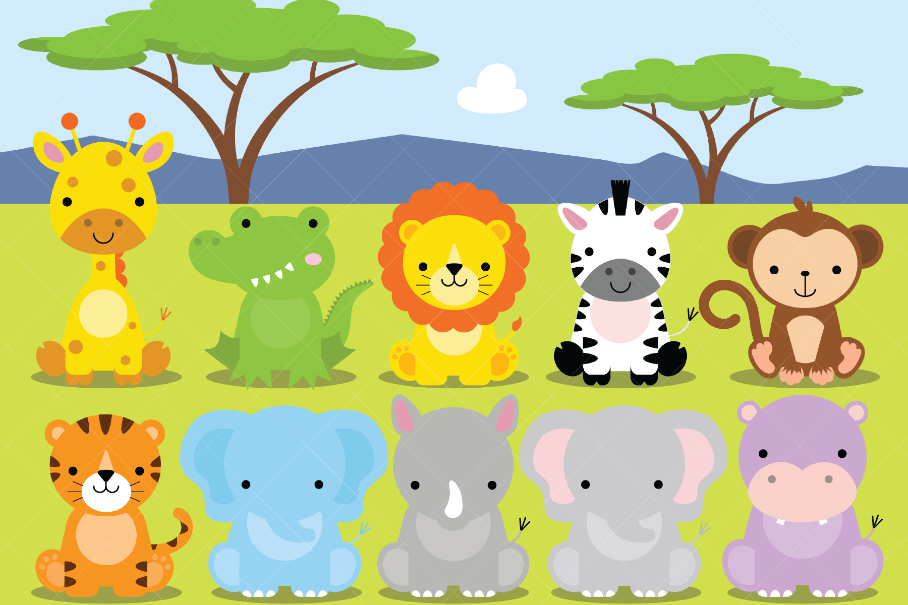 African Animals Clipart, Safari, Zoo (Graphic) by ...