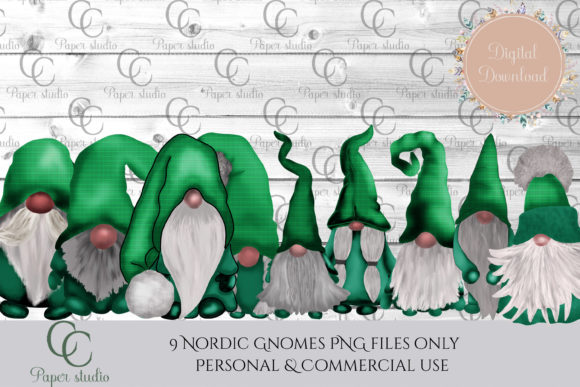 Print on Demand: Green Tarten Tomte Gnomes Graphic Illustrations By CC Paper Studio