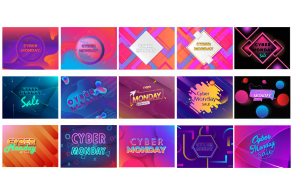 Print on Demand: Mega Set Cyber Monday Design Graphic Backgrounds By iop_micro