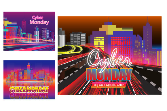 Print on Demand: Cyber Monday Sale Design 3 in 1 Graphic Backgrounds By iop_micro