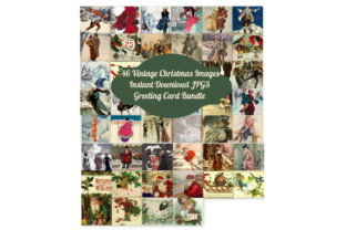 Download Free 46 Vintage Christmas Card Bundle Art Graphic By Scrapbook Attic for Cricut Explore, Silhouette and other cutting machines.