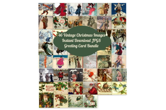 46 Vintage Christmas Card Bundle Art Graphic By Scrapbook Attic Studio