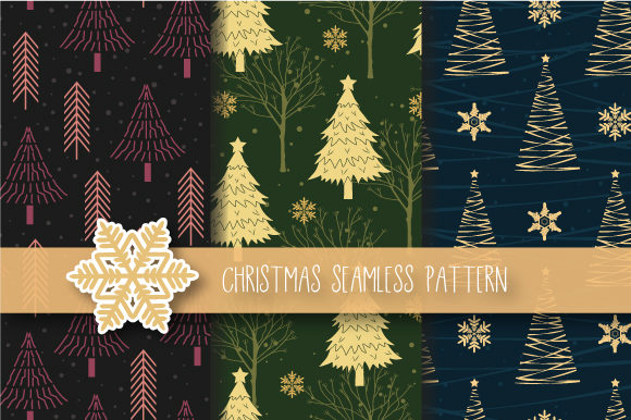 Download Free Christmas Tree Seamless Pattern Graphic By Jannta Creative Fabrica for Cricut Explore, Silhouette and other cutting machines.