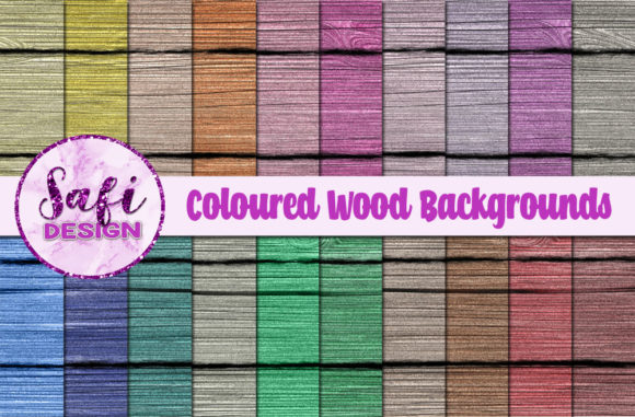 Print on Demand: Coloured Wood Backgrounds Graphic Backgrounds By Safi Designs